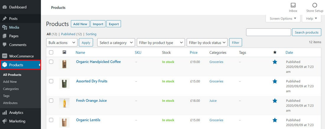 WooCommerce Products