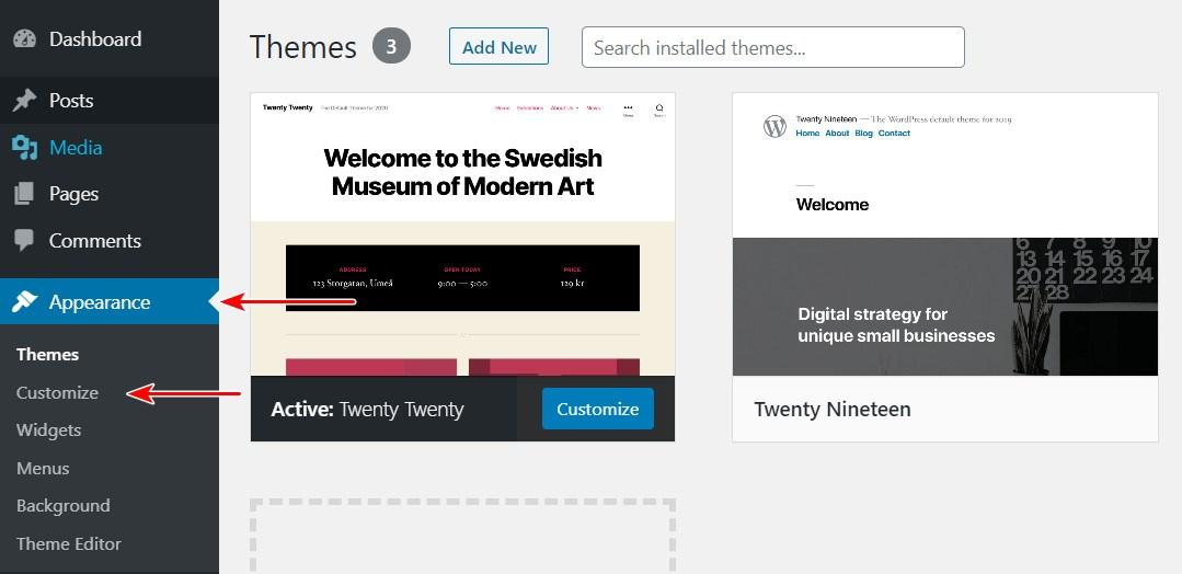 go to WordPress customizer