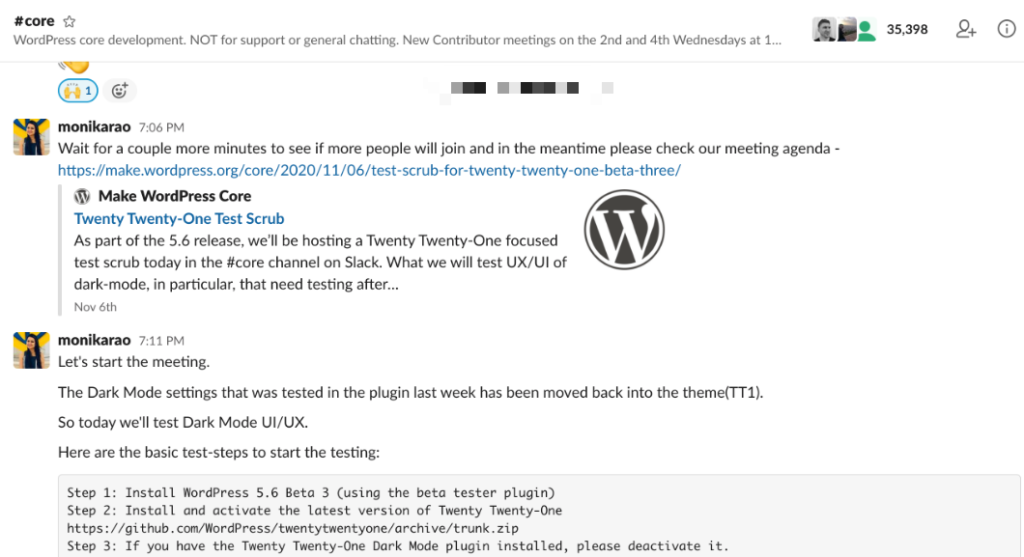 WordPress Core Slack Team