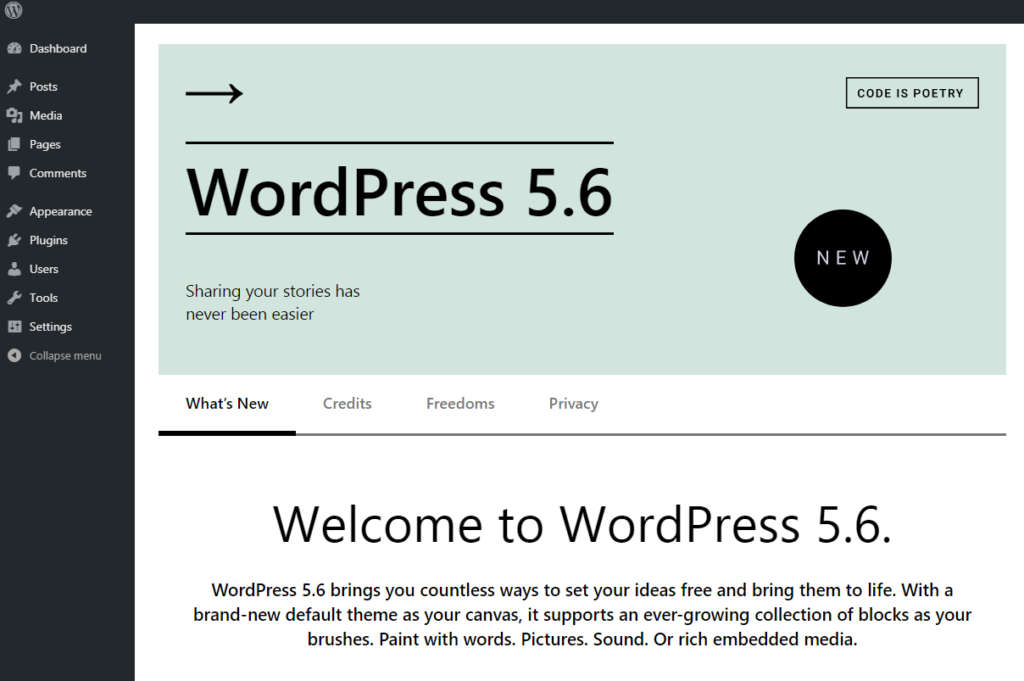 WordPress 5.6 What's New Screen