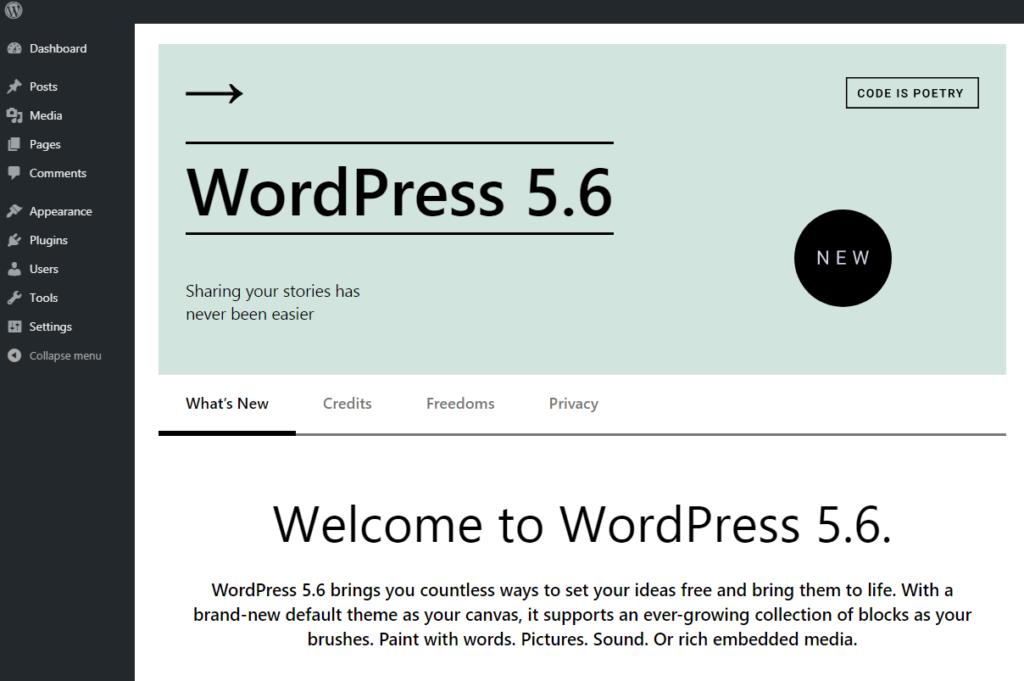 WordPress 5.6 What's New Screen