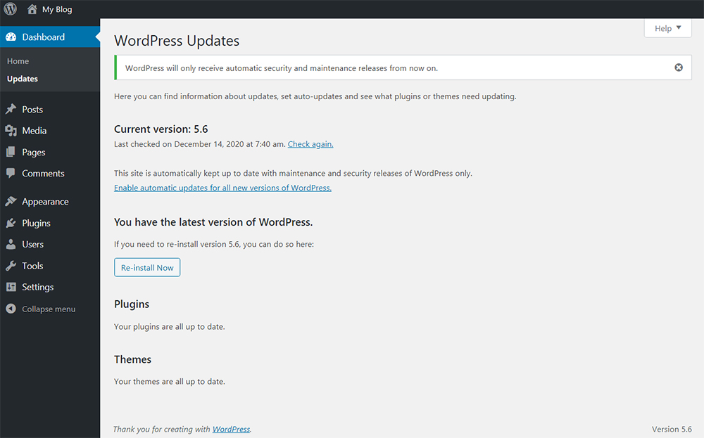 WordPress 5.6 Auto-Updates