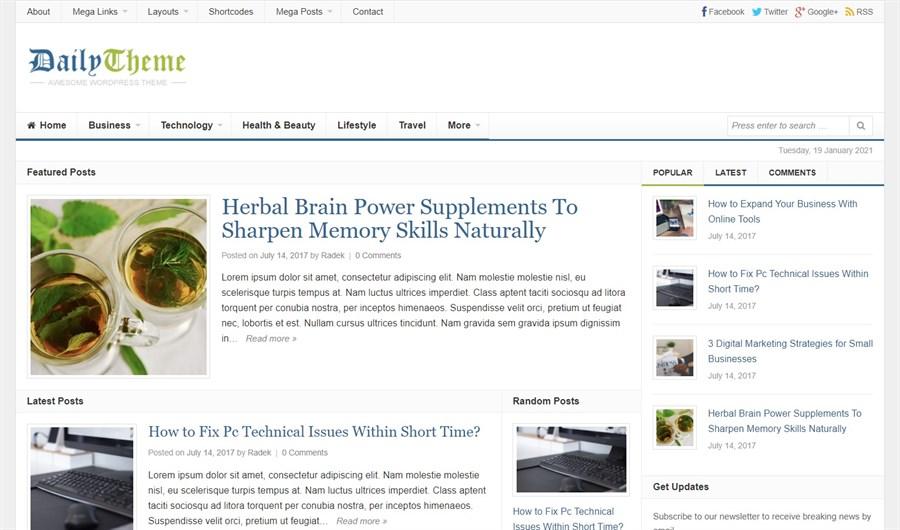 Daily theme wordpress theme