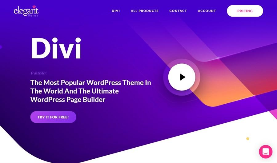 Divi theme homepage