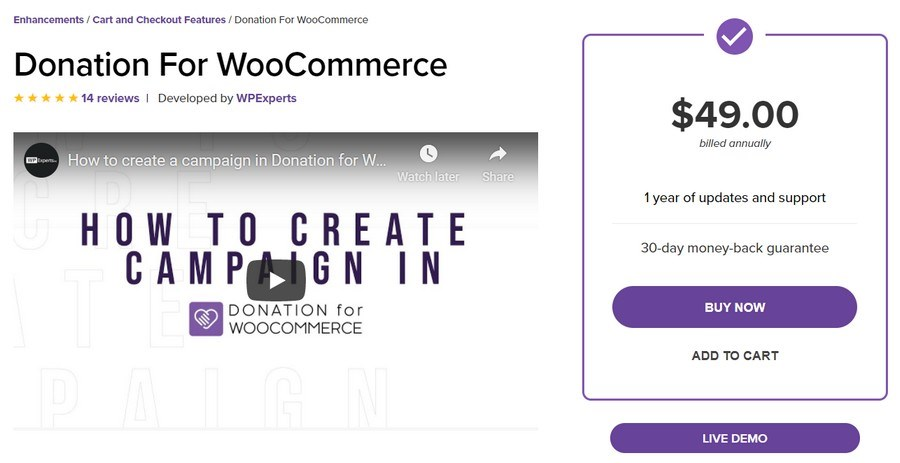 Donation for WooCommerce add on