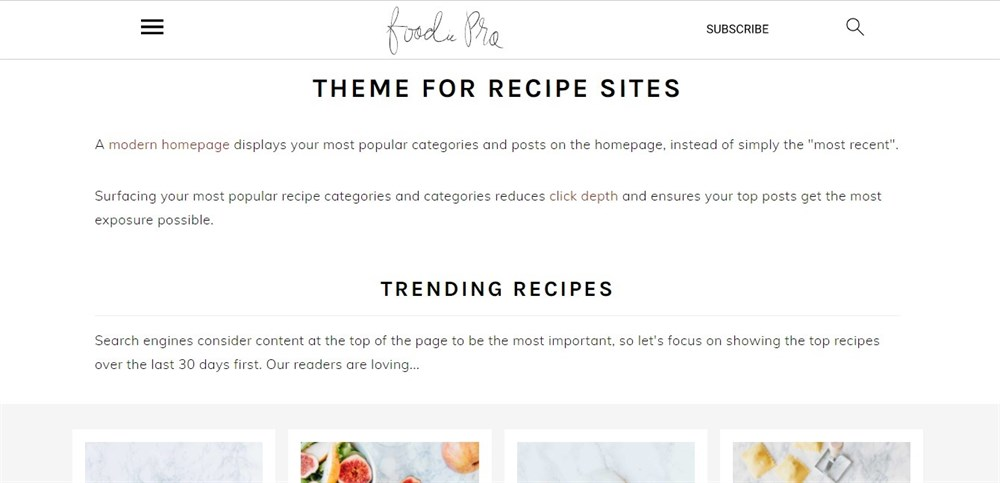 Foodie Pro demo site