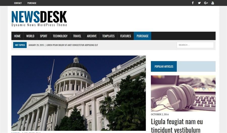 MH Newsdesk WordPress theme demo