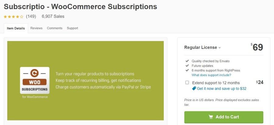 Subscriptio WooCommerc subscription plugin