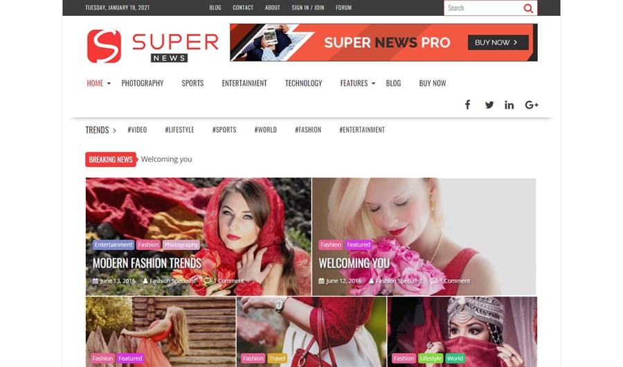 SuperNewsPro Theme demo