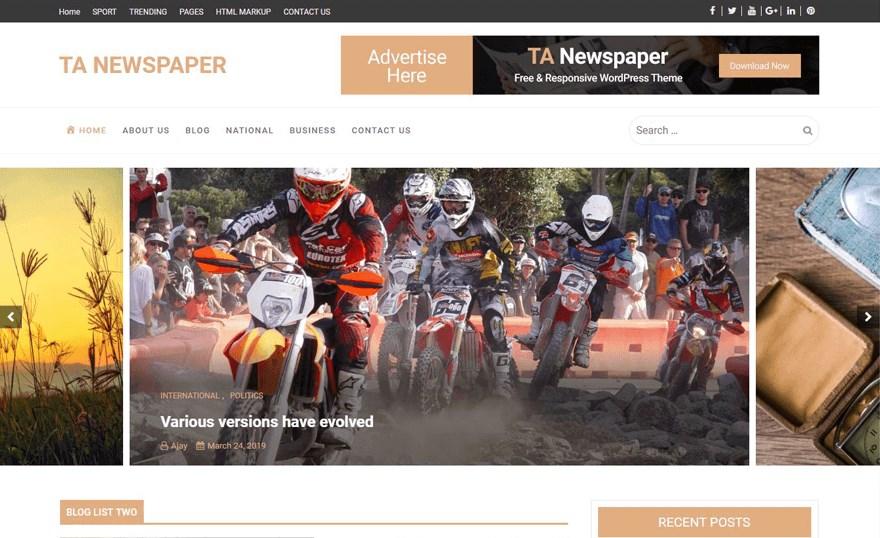TA newspaper wordpress theme