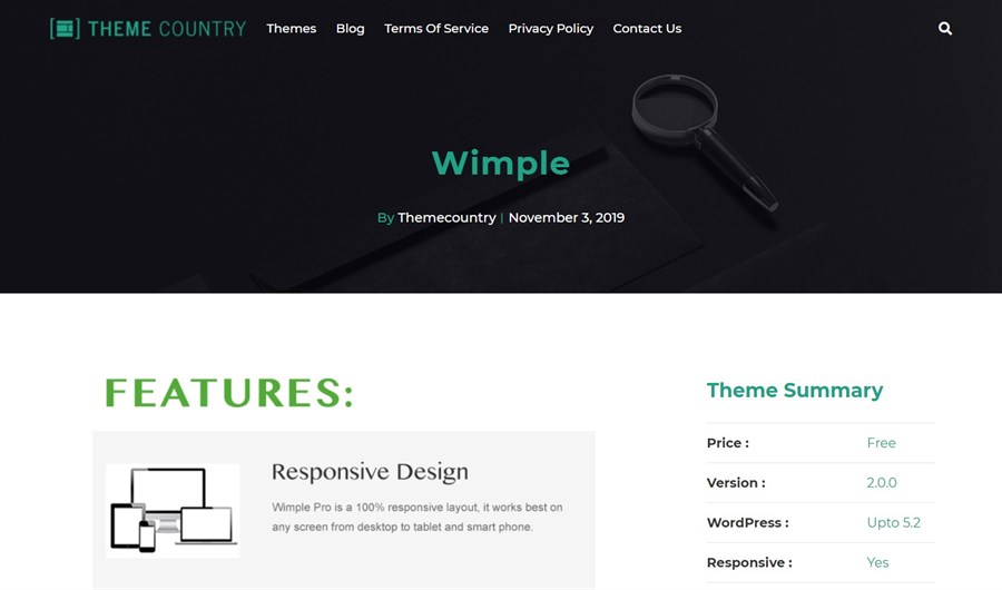 Wimple WordPress theme