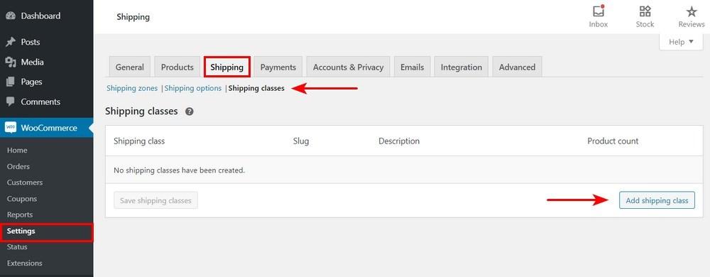WooCommerce Shipping classes settings