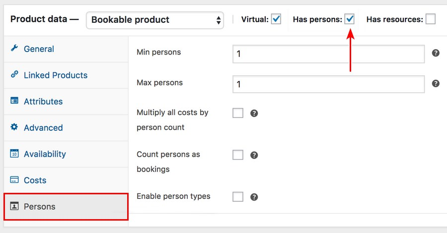 WooCommerce bookable product persons