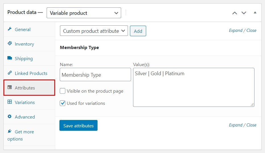 WooCommerce membership attributes
