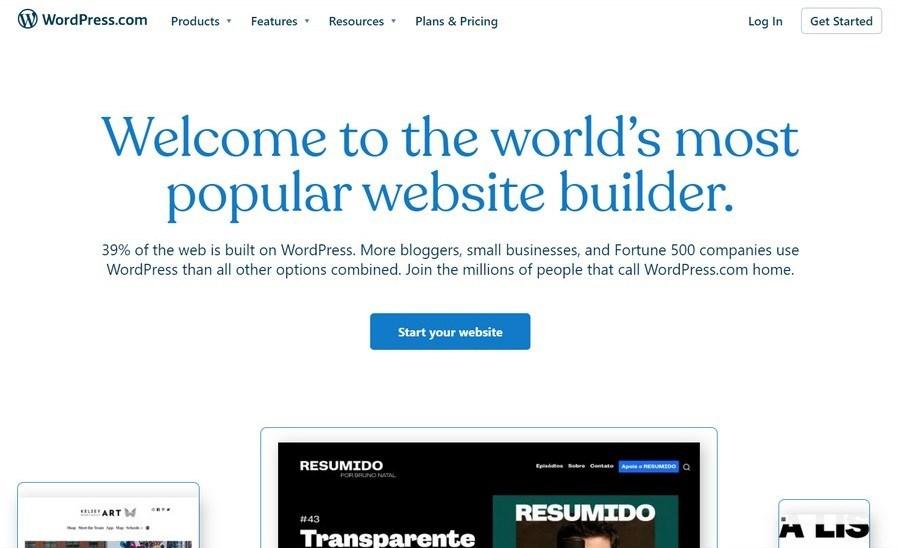 WordPress com homepage