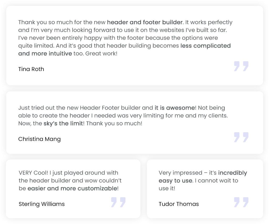 Astra - Header Footer Builder testimonials