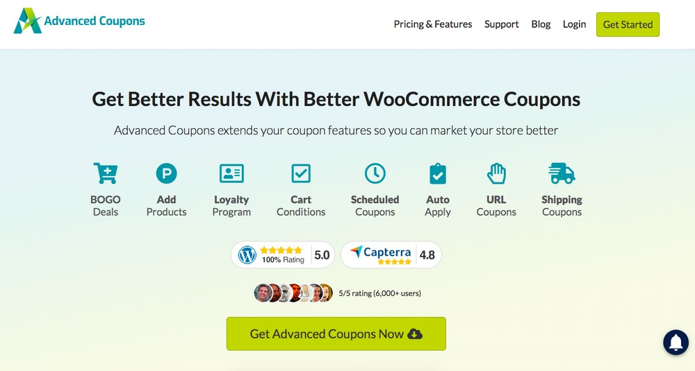 Advanced coupons homepage