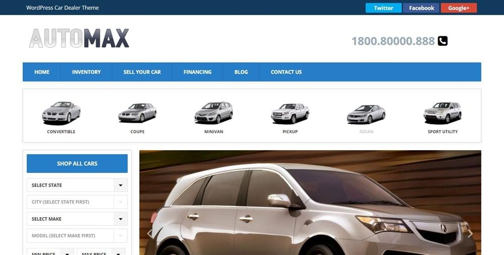 Automax WordPress theme for car dealer