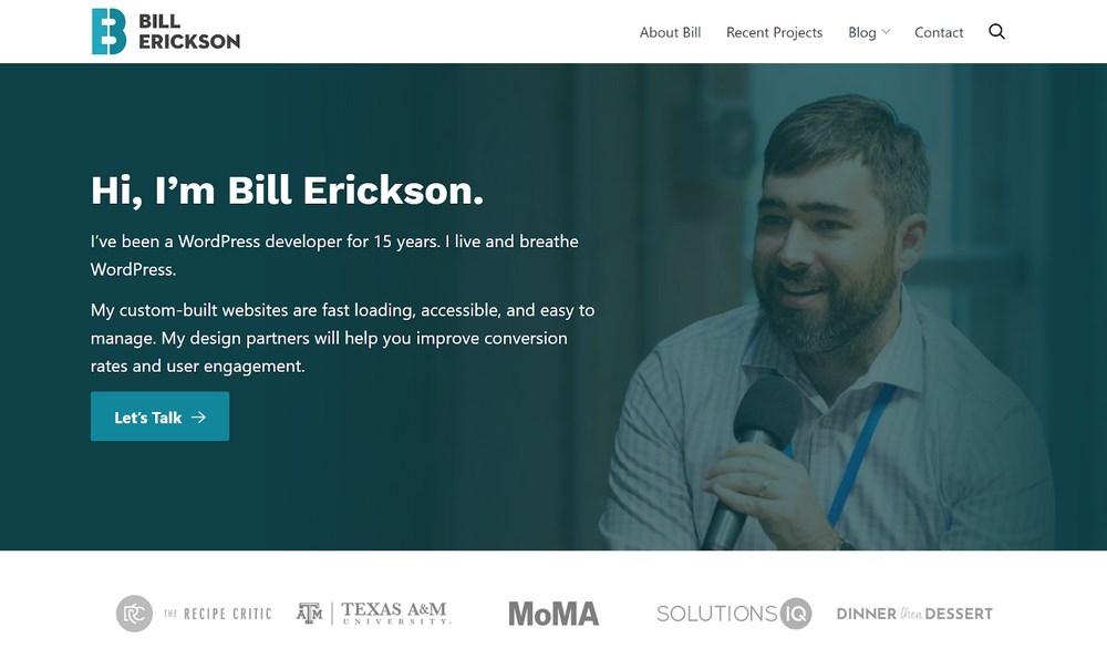 Bill erickson portfolio website