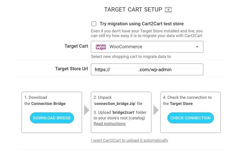 Cart 2 Cart target card setup 2