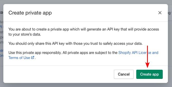 Create shopify private app