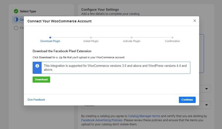 Download facebook pixel extension for WooCommerce