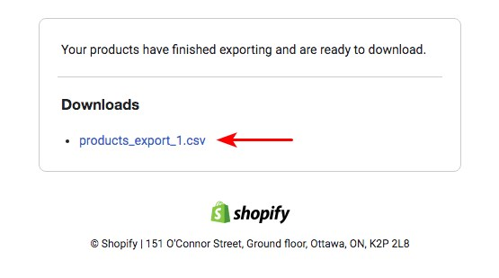 Download shopify exported products