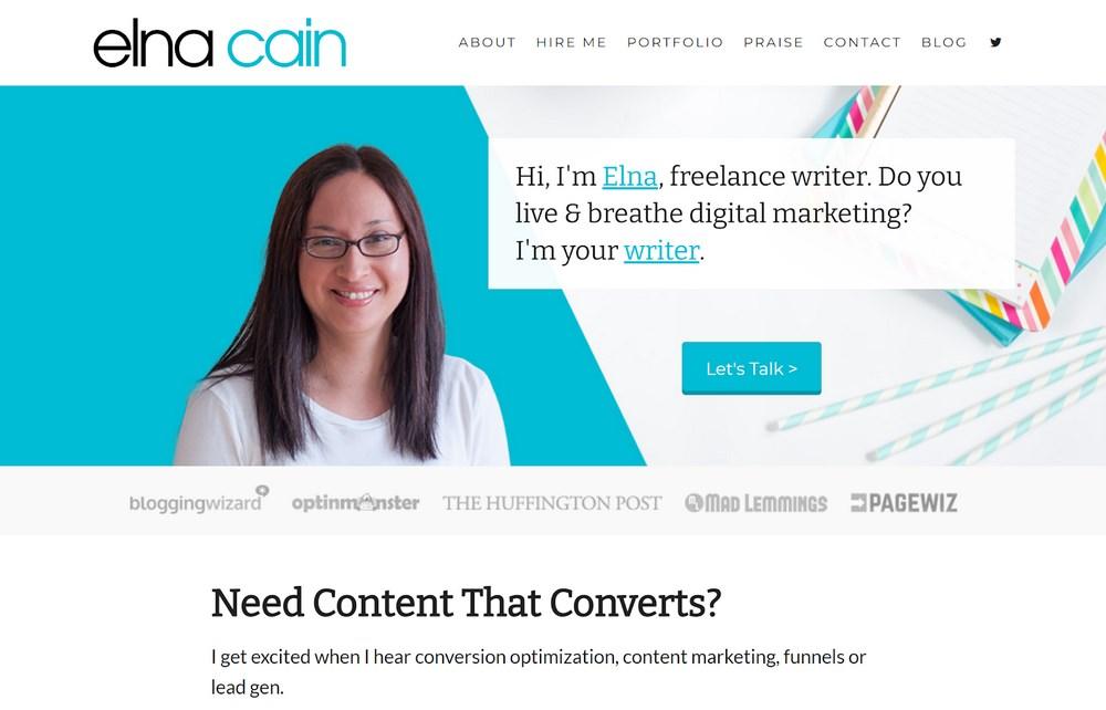 Elna Cain demo site for portfolio