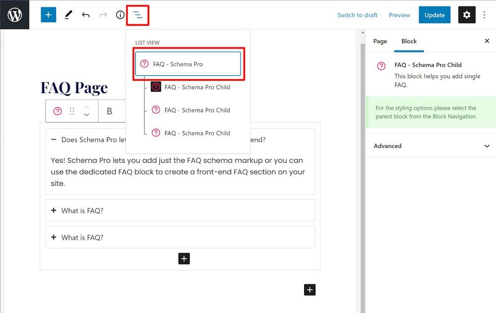 FAQ schema block setting 2