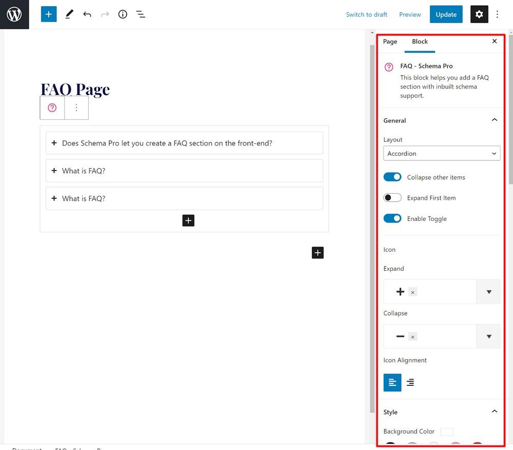 FAQ schema block setting 3