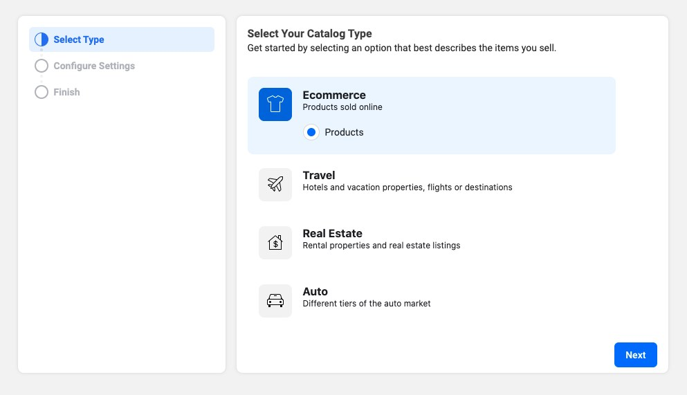 Facebook business create Ecommerce catalog