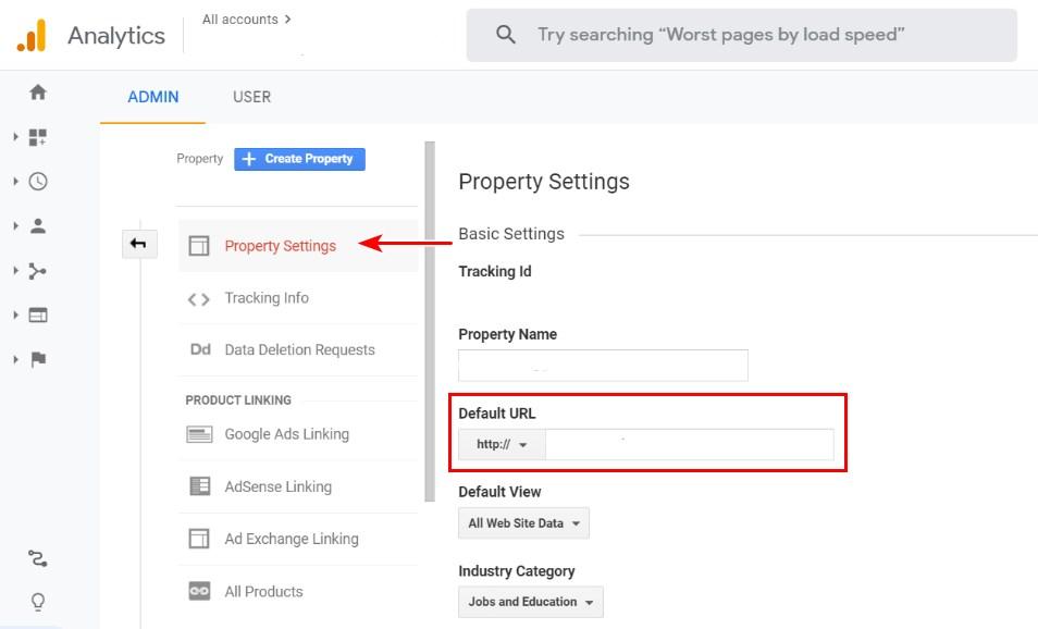 Google analytics default URL