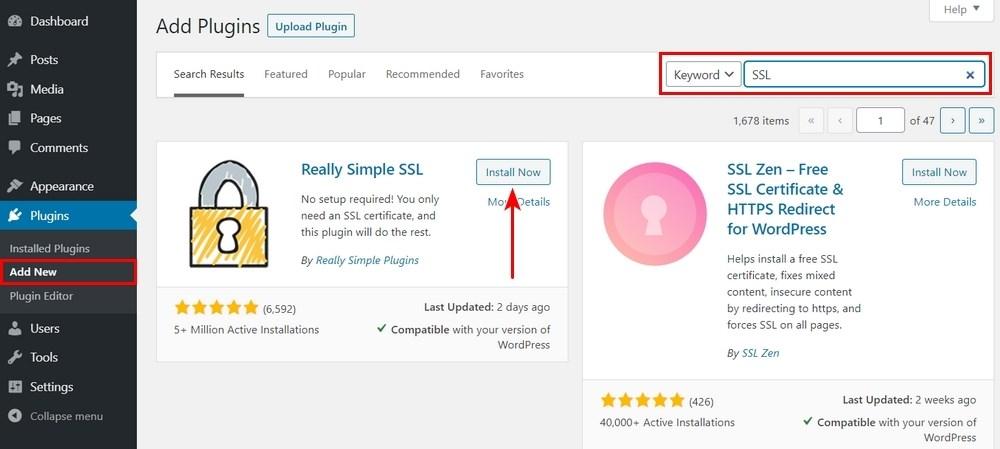 Install really simple SSL
