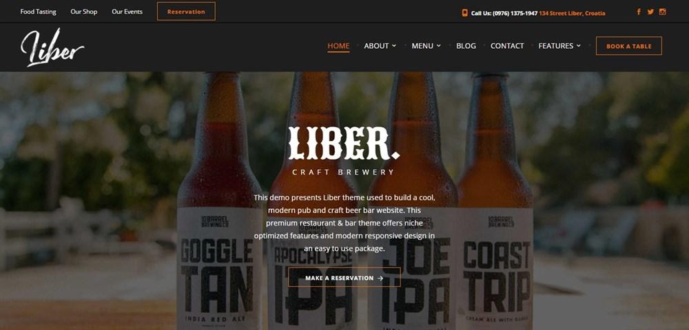Liber Beer restaurant theme demo site