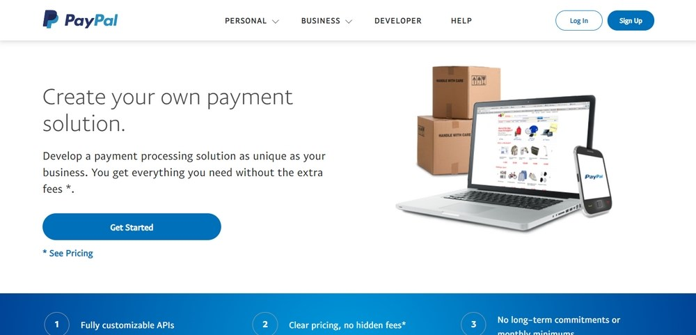 PayPal Pro homepage