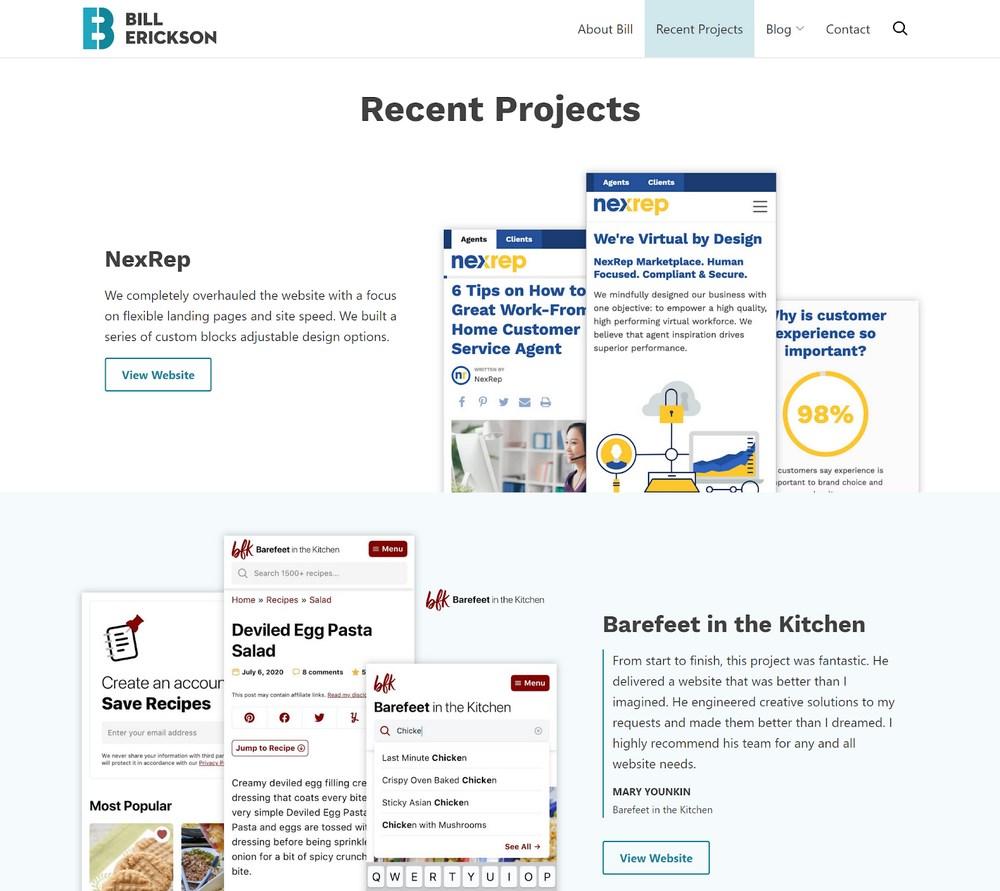 Portfolio of work examples