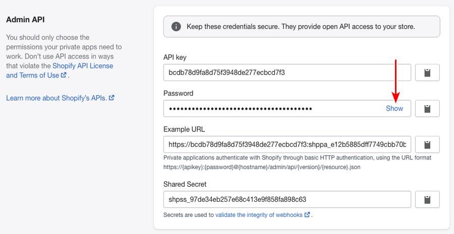 Shopify admin API