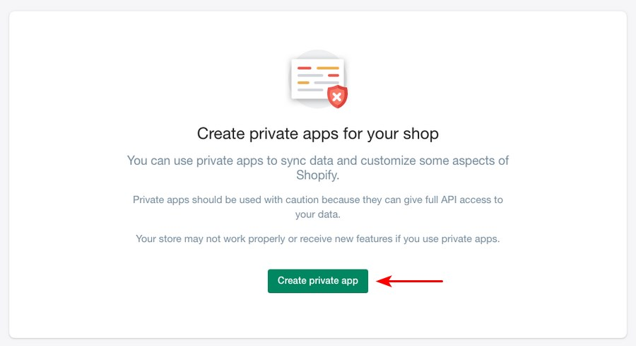 Shopify create private app
