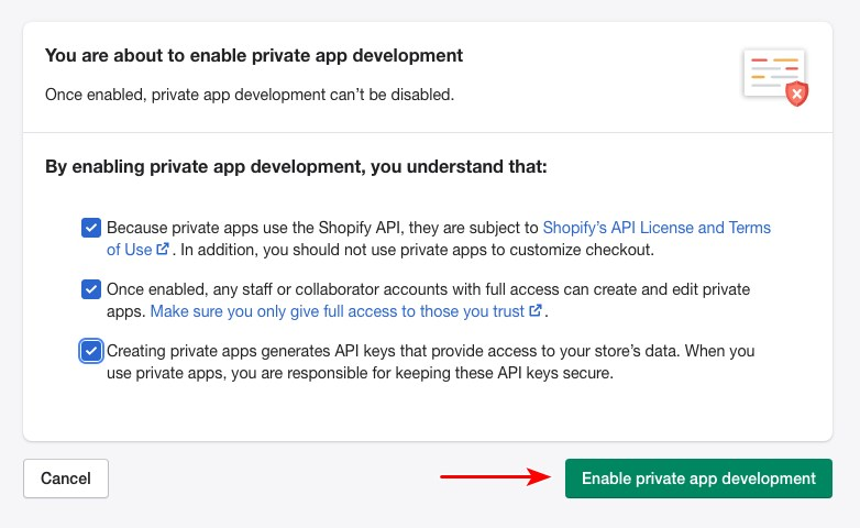 Shopify enable private apps