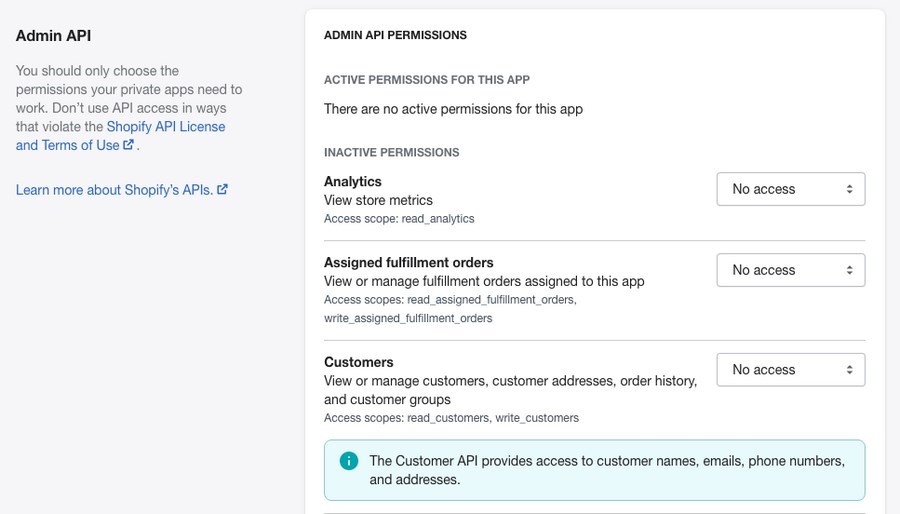 Shopify private app admin API