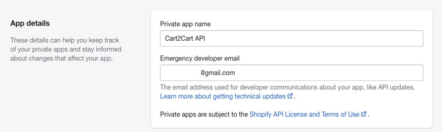 Shopify private app details