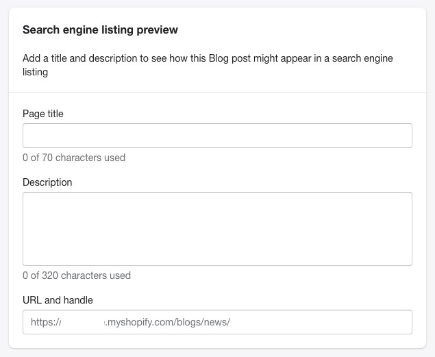 Shopify search engine listing preview