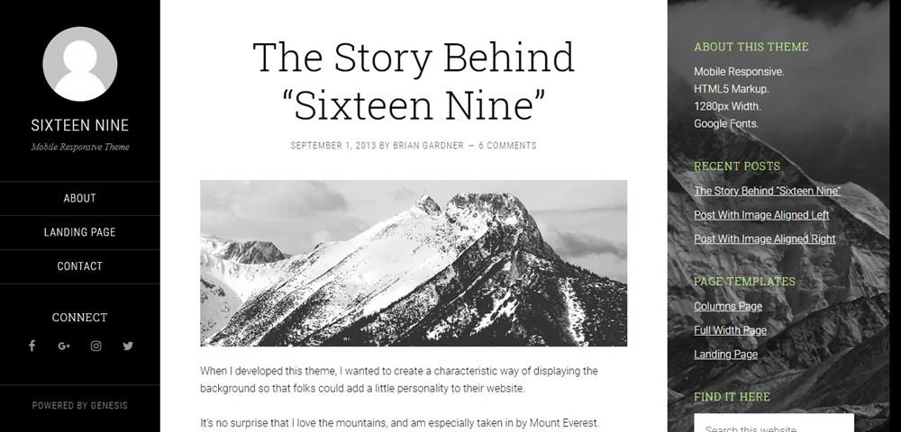 Sixteen Nine demo site