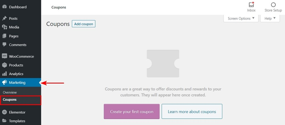 WooCommerce coupons page