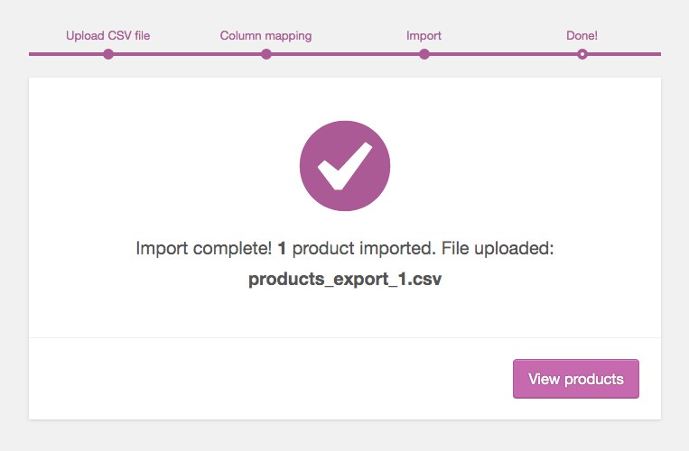 WooCommerce import complete message