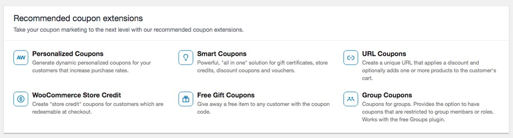 WooCommerce recommended coupon extensions