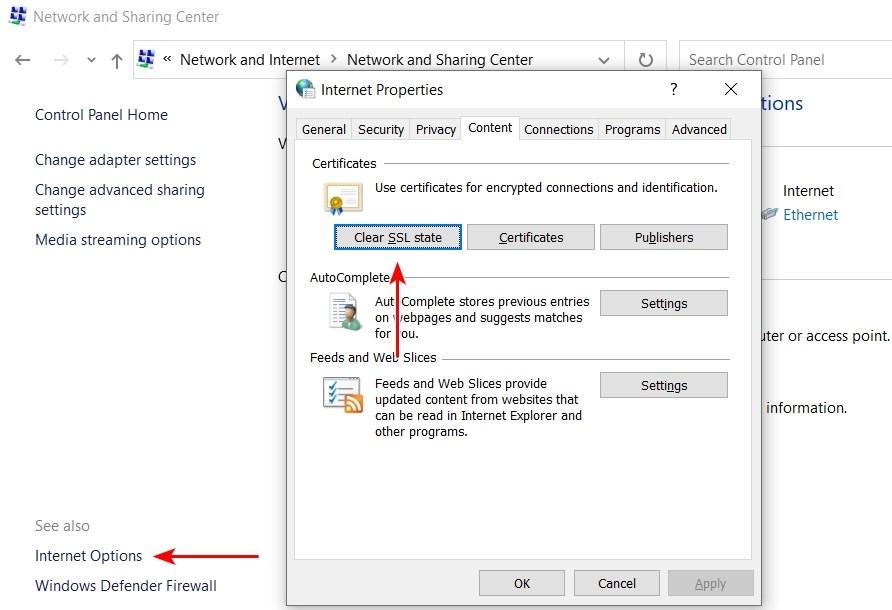 clear SSL state windows