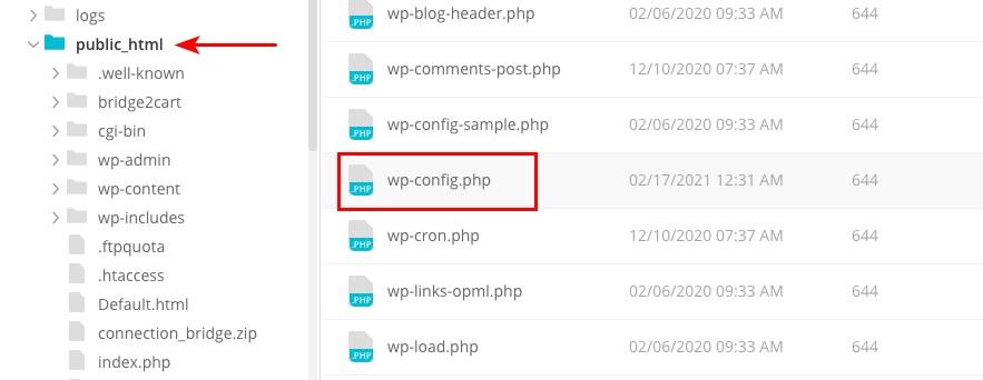 使用FTP訪問wp-config
