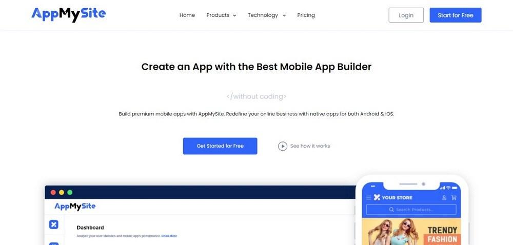 App my site homepage
