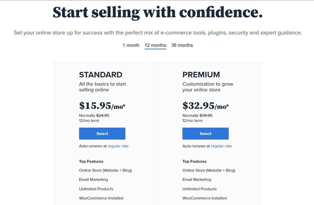 Bluehost WooCommerce hosting plan